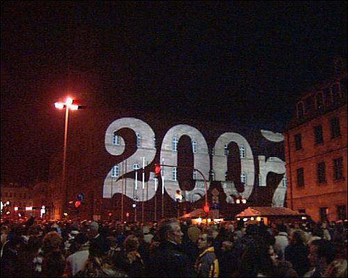 Silvester 2007 vor dem Fürther Rathaus