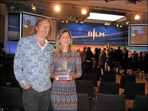 Bei der Preisverleihung im Nürnberger Messezentrum im Rahmen der Lokalrundfunktage 2014