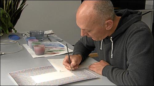 Auf die Erstellung seiner Aquarelle verwendet der Künstler, der sich als eher ungeduldigen Mensch beschreibt, viel Zeit