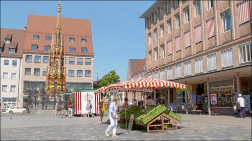 Knoblauchsländer Obst und Gemüse findet am Nürnberger Hauptmarkt viele Abnehmer. Die Sensibilität der Verbraucher für Bioprodukte ist hier groß.